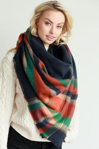 Plaid Patterned Oversized Knit Fringe Blanket Scarf - Boho Bohemian Decor
