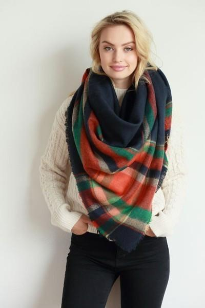 Plaid Patterned Oversized Knit Fringe Blanket Scarf-GoGetGlam