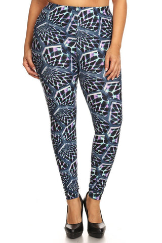 Plus Size Abstract Print Leggings - Boho Bohemian Decor
