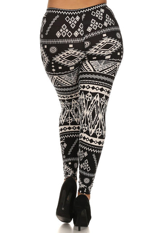 Plus Size Aztec Border Print Leggings - Boho Bohemian Decor