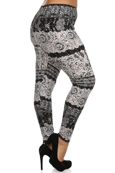 Plus Size Black Lace Print Leggings - Boho Bohemian Decor
