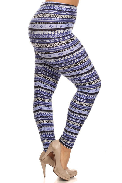 Plus Size Blue Tribal Print Leggings - Boho Bohemian Decor