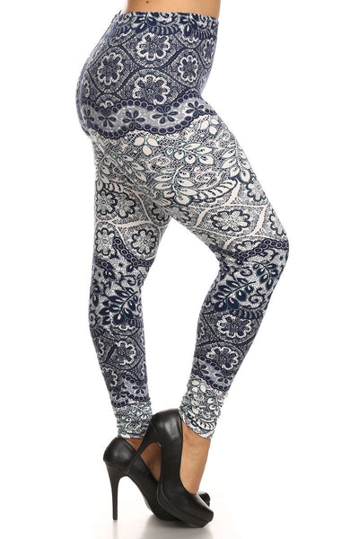 Plus Size Boho Bandana Print Leggings - Boho Bohemian Decor