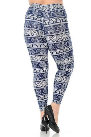 Plus Size Boho Elephant Print Leggings - Boho Bohemian Decor