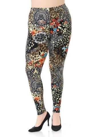 Plus Size Boho Hippie Print Leggings - Boho Bohemian Decor