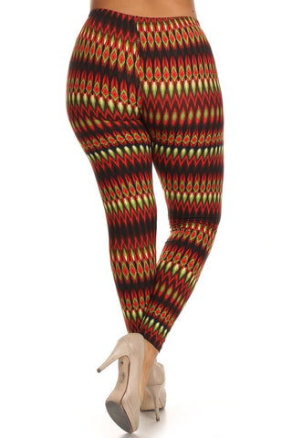 Plus Size Boho Print Leggings - Boho Bohemian Decor