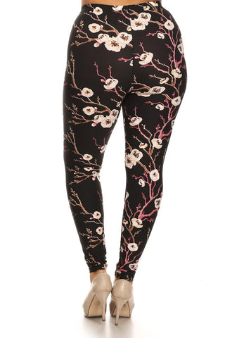 Plus Size Cherry Blossom Print Leggings - Boho Bohemian Decor