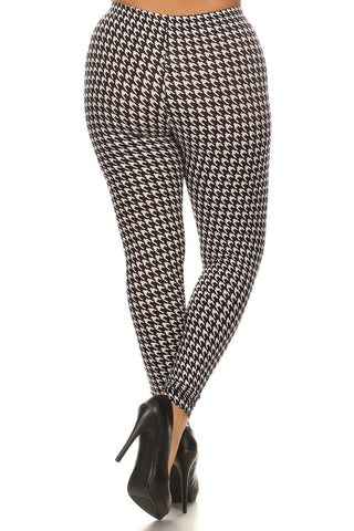 Plus Size Contrast Houndstooth Print Leggings - Boho Bohemian Decor