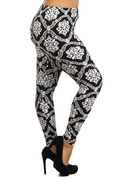 Plus Size Damask Crest Print Leggings - Boho Bohemian Decor