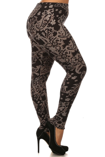 Plus Size Damask Print Leggings - Boho Bohemian Decor