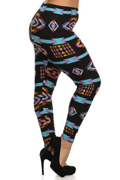 Plus Size Electric Tribal Print Leggings - GoGetGlam Boho Style
