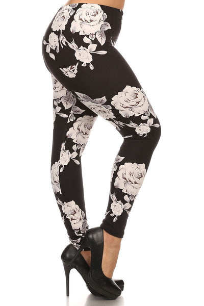Plus Size Ghost Rose Floral Print Leggings - GoGetGlam Boho Style
