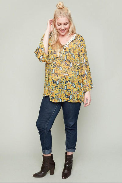 Plus Size Gold Floral Boho Top-GoGetGlam