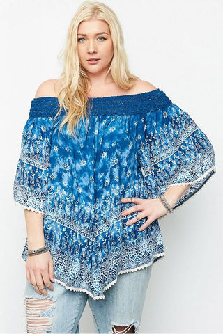 Plus Size Lace Trim Off The Shoulder Top - GoGetGlam Boho Style