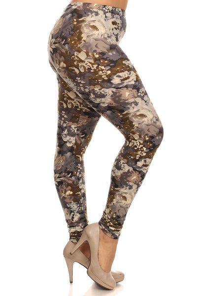Plus Size Neutral Floral Print Leggings - GoGetGlam Boho Style