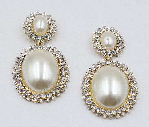 Porcia Crystal Pearl Statement Earrings - GoGetGlam Boho Style