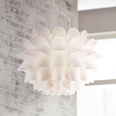 "Possini Euro White Flower 19 1/2"" Wide Pendant Chandelier - GoGetGlam Boho Style"