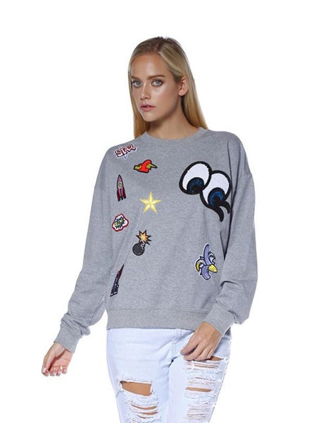 Pretty in Patches Lightweight Sweatshirt-GoGetGlam