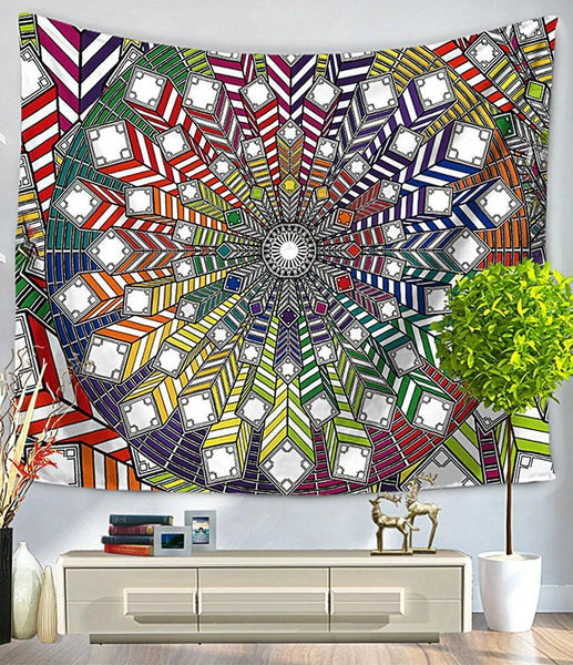 Primary Color Blocks Mandala Bed Wall Tapestry-GoGetGlam