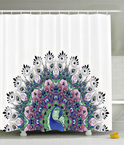Proud Peacock Boho Fabric Shower Curtain - GoGetGlam Boho Style