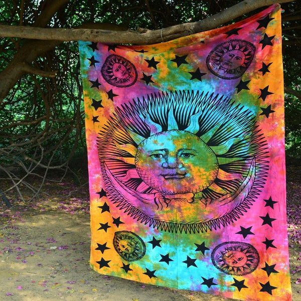 Psychedelic Celestial Sun Moon Stars Tie Dye Tapestry - GoGetGlam Boho Style