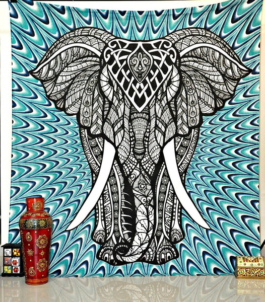 Psychedelic Elephant Blue Green Boho Wall Bed Tapestry-GoGetGlam