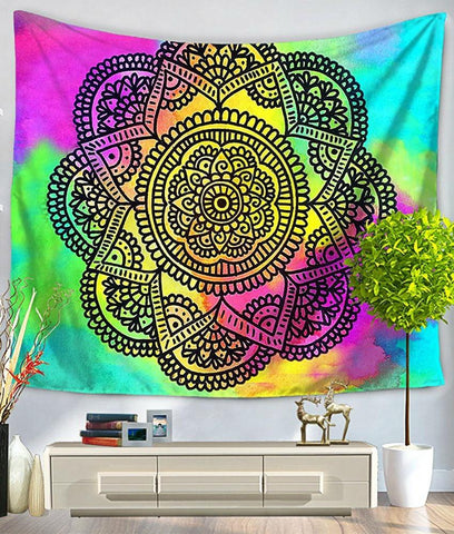 Psychedelic Series Mandala Bed Wall Tapestry - GoGetGlam Boho Style