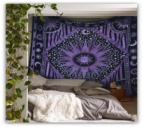 Purple Burning Sun Bohemian Boho Wall Bed Queen Tapestry - GoGetGlam Boho Style
