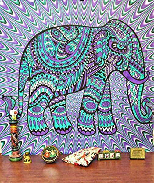 Purple Tribal Elephant Boho Wall Tapestry-GoGetGlam