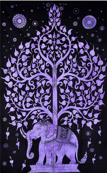 Purple Elephant Tree Bohemian Boho India Wall Hanging Tapestry-GoGetGlam