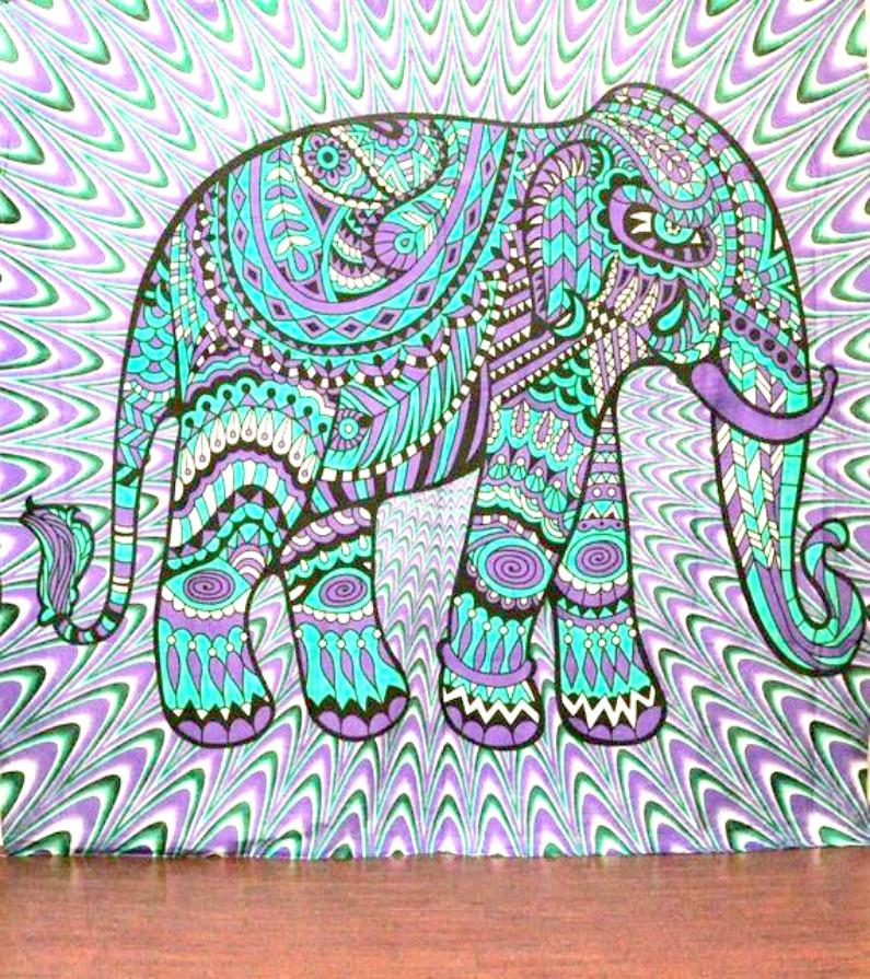 Purple Tribal Elephant Boho Bohemian Bedspread Beach Blanket Wall Tapestry-GoGetGlam