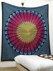 Rainbow Peacock Feather Circle Pattern Boho Wall Tapestry-GoGetGlam