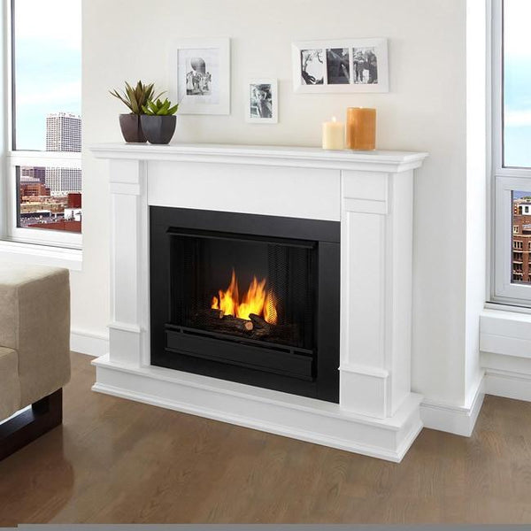 Real Flame Silverton White Gel 48-inch Fireplace - Boho Bohemian Decor