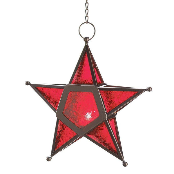 Red Glass Star Lantern Hanging Candle Holder - Boho Bohemian Decor