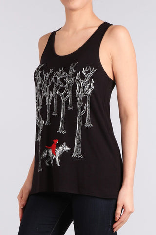 RED RIDING HOOD Racerback Tank Top-GoGetGlam