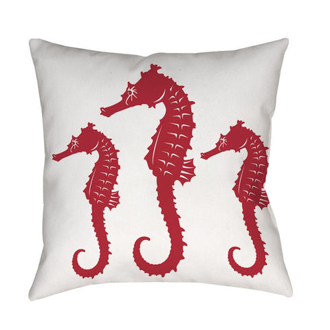 Red White Nautical Seahorse Throw Pillow - Boho Bohemian Decor