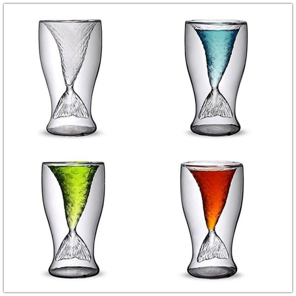 Reinforced Glass Mermaid Tail Shot Glasses - Boho Bohemian Decor