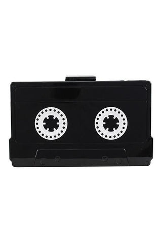 Retro Cassette Tape Clutch Handbag with Chain - Boho Bohemian Decor