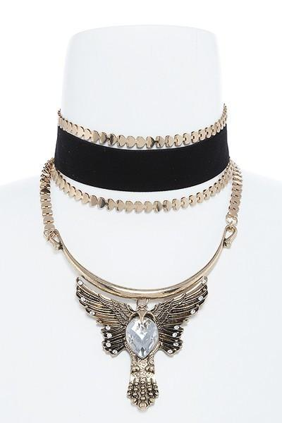Rising Phoenix Choker Necklace Earring SET-GoGetGlam