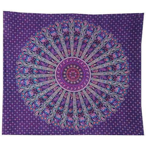 Rona Bohemian Purple Royal Blue Wall Hanging Bed Beach Tapestry-GoGetGlam