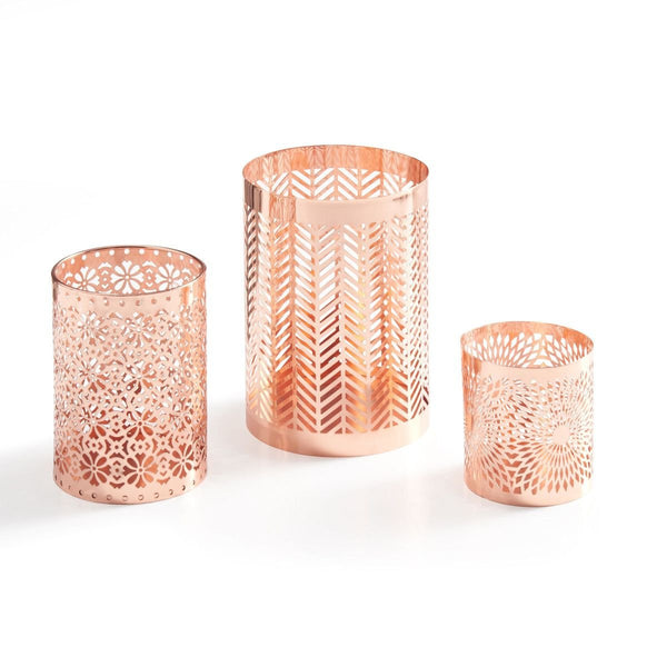 Rose Gold Metal Pattern Casting Candle Holder Set-GoGetGlam