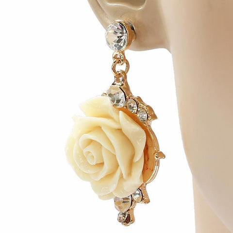 Rose Sparkle Drop Earrings-GoGetGlam
