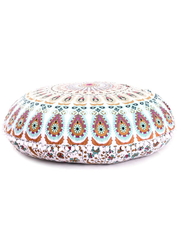 "Aza Boho Home 32"" Round Floor Pillow - Boho Bohemian Decor"