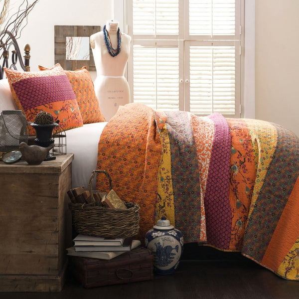 Royal Empire Orange Striped Boho 3 PC Quilt Bedding SET-GoGetGlam