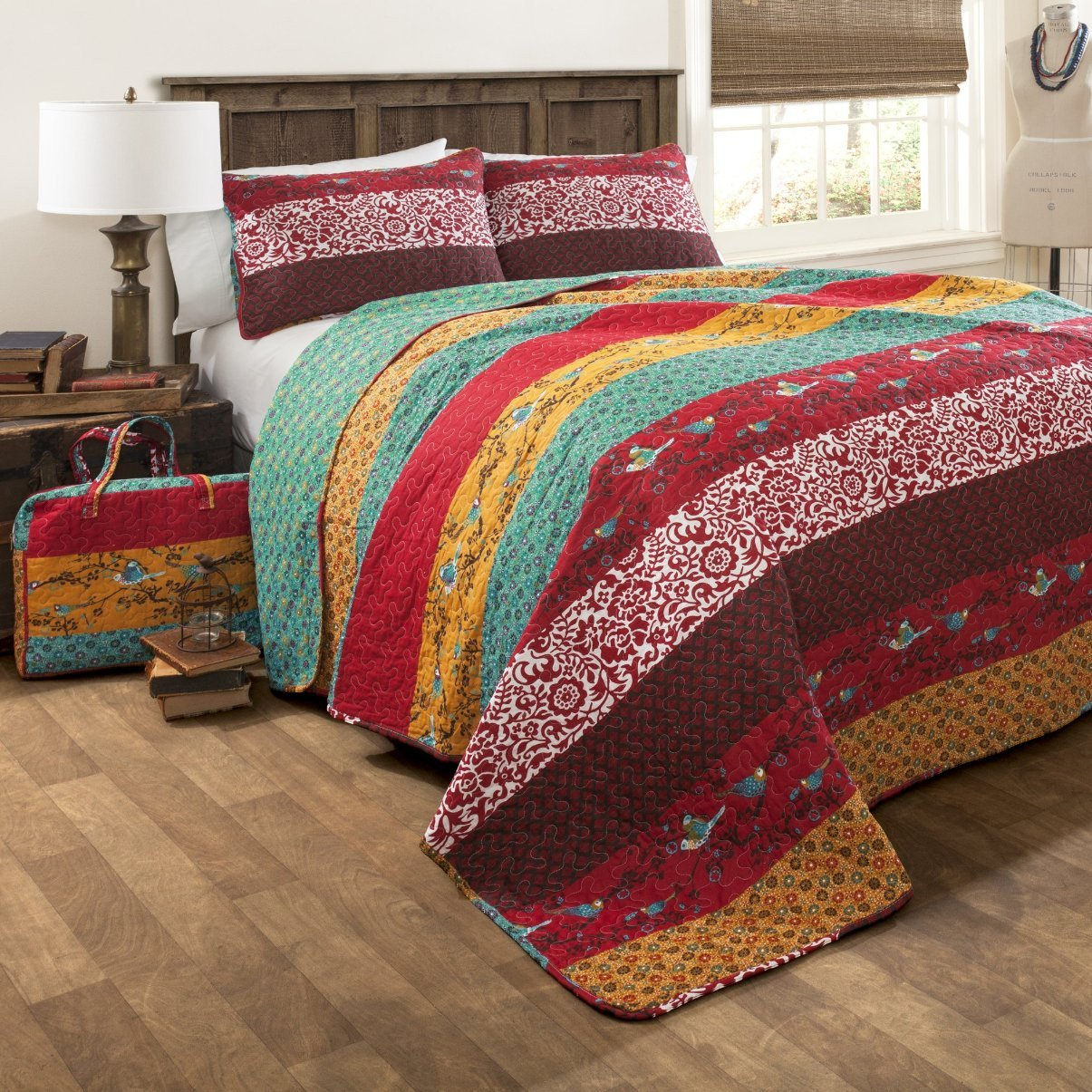 bedroom quilt and for pattern wood quilts rug your cozy blue headboard with bedding bed red traditional plus design floor quilted cowhide