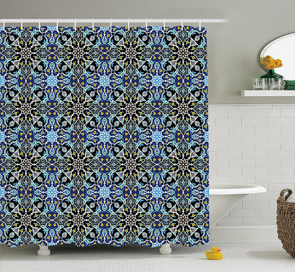 Royal Palace Boho Mandala Blue Fabric Shower Curtain - GoGetGlam Boho Style
