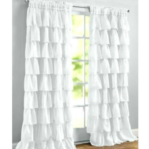Crushed Voile Sheer Shabby Chic Ruffle Window Curtain Panel