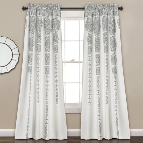 Sabine Boho Black | Gray Mandala Curtain SET-GoGetGlam