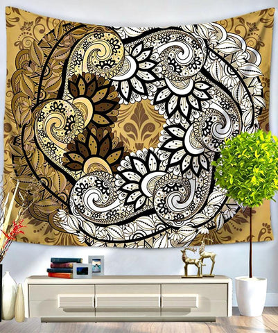 Sand Scroll Mandala Bed Wall Tapestry-GoGetGlam