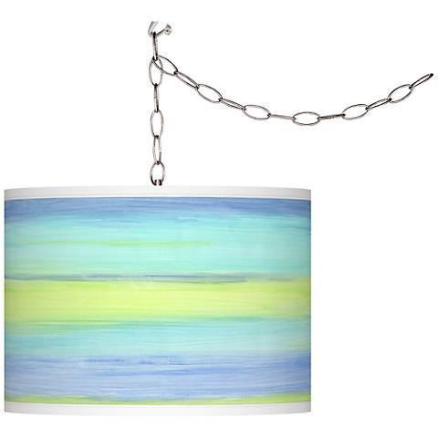 Sea Surf Blue Swag Plug-In Pendant Chandelier-GoGetGlam
